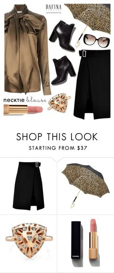 """""""Untitled #2885"""" by deeyanago ❤ liked on Polyvore featuring storets, Pasotti Ombrelli, Pierre Hardy, Chanel, Gucci, falltrend, dafinajewelry and necktieblouse"""