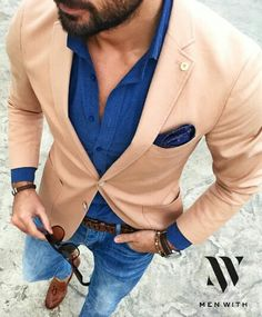 re Manteau Pantalon Designs Champagne Kaki Hommes Costume veste Casual Plage Terno Slim Fit Blazer Custom Made Smoking Masculino 5 Smart Casual, Casual Looks, Men Casual, Casual Jeans, Casual Chic, Mode Masculine, Sharp Dressed Man, Well Dressed Men, Mode Outfits