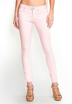 GUESS Brittney Ankle Skinny Pastel Jeans My fav jean company! Guess Jeans, Rosa Jeans, Summer Outfits, Cute Outfits, Pink Jeans, Vogue, Colored Jeans, Jeans Style, Spring Summer Fashion