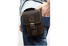 Mens Leather Waist Bag Hip Bag Thick Leather por Mariabagbagworld, $55.00