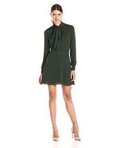 Rebecca Minkoff Women's Scarlet Long Sleeve Tie Neck Dress, Green, 10