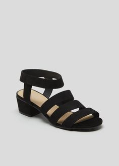 790cd9788 Wide Fit Strappy Block Heel Sandals – Black – Matalan