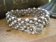 Bohemian crochet wrap bracelet - Antique Silver - boho bracelet bohemian jewelry, crochet bracelet thai hill tribes silver flower charm