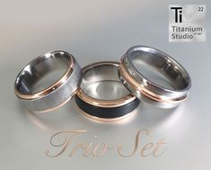 More of our favorite titanium and rose gold rings - manufactured by our very talented studio staff. Titanium Wedding Rings, Custom Wedding Rings, Wedding Rings Rose Gold, Titanium Rings, Gold Rings, Gold Wedding, Wedding Bands, Jewellery Shop Design, Jewelry Shop