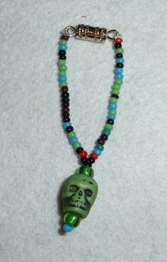 Zombie Girl Wants to Eat Your Brain Spooky Skull Necklace for BLYTHE Skull Necklace, Beaded Necklace, Beaded Bracelets, Zombie Girl, Brain, Goodies, Eat, Handmade, Jewelry
