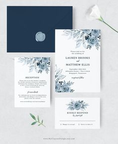 A floral wedding invitation set in lovely dusty blue and navy. Visit the shop to try the demo! #dustybluewedding #weddinginvites Diy Wedding Invitations Templates, Elegant Invitations, Elegant Wedding Invitations, Invitation Suite, Wedding Themes, Wedding Ideas, Dusty Blue Weddings, Dream Wedding, Wedding Blue