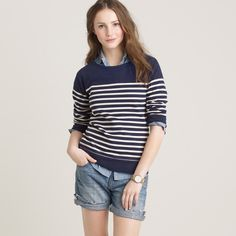 JCREW Pier Striped Sweatshirt - White Worn once - super cute for Spring and Summer.  Cotton.  Machine wash. J. Crew Tops Sweatshirts & Hoodies