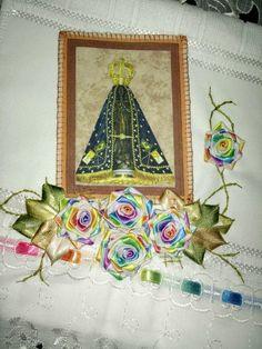 LOY HANDCRAFTS, TOWELS EMBROYDERED WITH SATIN RIBBON ROSES: Toalha bordada com Imagem de Nossa Senhora de Apar...