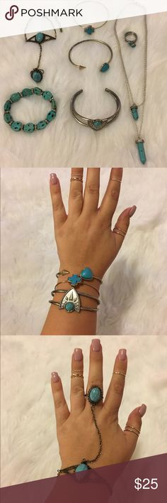 Turquoise bracelet, necklace and ring bundle Gently worn. Some are silver, some are gold. Sold as a set! Rings are size 8. Necklace and large cuff are from UO all other pieces I bought at a street festival in Downtown San Diego. Urban Outfitters Jewelry Bracelets