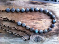 Beadwork Necklace of Copper and Labradorite by modbohocreations, $57.00 - Gorgeous necklace!