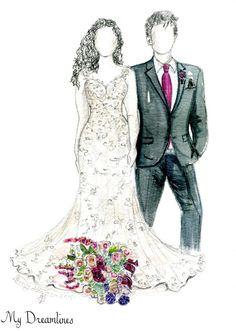 Personal Wedding Dress Sketch | Anniversary Gift | Wedding Gift | Wedding Day Gift From Groom | Bridal Shower Gift | Wedding Guestbook http://www.mydreamlines.com/ #weddinggift #anniversarygift #weddingdresssketch #paperanniversarygift #oneyearanniversarygift #romanticanniversarygift