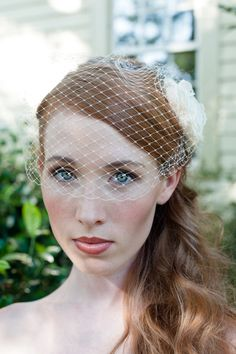 Birdcage Veil with Plain Edge Easy Fit in Super Soft IVORY or WHITE French Netting. $29.50, via Etsy.