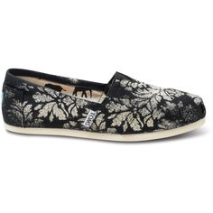 TOMS Gabriel Lacktman Hand-Bleached Damask Black Women's Classics ($68) ❤ liked on Polyvore featuring shoes, flats, toms footwear, stitch shoes, flat shoes, flat pump shoes and black flats