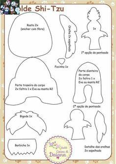 Schemes and patterns of felt toys for beginners Dog Crafts, Felt Crafts, Sewing Crafts, Sewing Projects, Felt Patterns, Applique Patterns, Sewing Patterns, Shih Tzu, Felt Finger Puppets