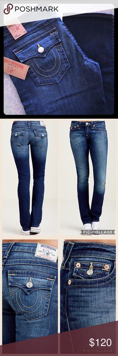 """SOLD OUT NWT True Religion Slim Straight Jeans ONLY AVAILABLE UNTIL FRIDAY 1/20/17!!!!!!! BUY NOW!!! Please feel free to ask questions... SOLD OUT!! Brand NEW Slim Straight Womens Flap Pocket Jeans in Island Song  Straight leg Mid rise - 9"""" Waist - 16-1/2"""" 34"""" inseam Zip Fly 92% cotton 6% poly 2% elastane Imported True Religion Jeans Straight Leg"""