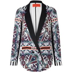 Clover Canyon Black and White Paisley Print Blazer (€560) ❤ liked on Polyvore featuring outerwear, jackets, blazers, tops, paisley blazer, black white jacket, clover canyon blazer, paisley jacket and white and black jacket