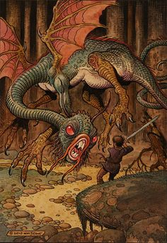 "Jabberwock, by Wm. Stout; ""One, two! One, two! And through and through   The vorpal blade went snicker-snack! He left it dead, and with its head   He went galumphing back."""