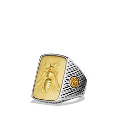 David Yurman Petrvs Bee Signet Ring with Gold in Gold for Men Bee Jewelry, Modern Jewelry, Antique Jewelry, Jewellery, Mens Gold Rings, Rings For Men, David Yurman Mens Ring, Memento Mori Ring, Bee Ring