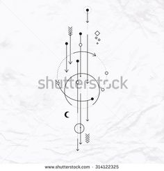 Vector geometric alchemy symbol with moon, arrows, dots, shapes. Abstract occult and mystic signs. Linear logo and spiritual design. Concept of imagination, magic, creativity, religion, astrology