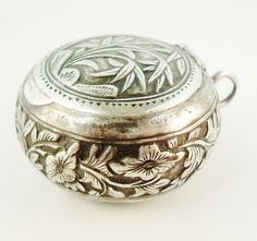 Vintage French silver compact locket pill box or poudrier for chatelaine