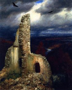 Arnold Böcklin(Swiss 1827 – 1901) Ruined Castle with Two...