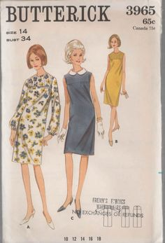 1960s Vintage Sewing Pattern Butterick 3965 MADMEN by sandritocat