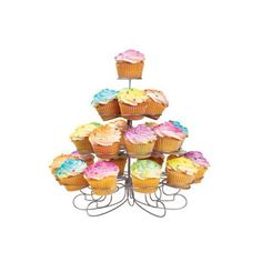 Wilton Cupcakes and More Stand - Silvertone (Holds 23) ($30) ❤ liked on Polyvore featuring home, kitchen & dining, serveware, food, cakes, fillers, food and drink, cake stands & tiered servers, cup cake stand and cupcake cake stand
