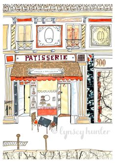 French Patisserie Ink watercolour and collage by lynseyhunter