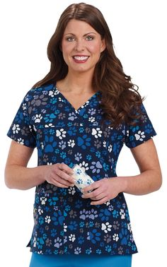 4-Way Stretch Animal Print Scrub Top - Paws of Love Image