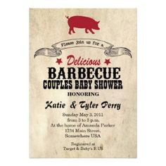 BBQ Baby Shower Party Invitations