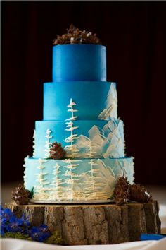 Camp dessert ombre landscape forest mountain oil panting scenery rustic wedding cake