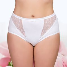 9ed01d77dd5ef Womens Sexy Lace Panties 95% Cotton 5% Spandex Mid-Rise Underwear Plus Size