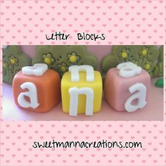Items similar to 6 Letter Blocks. Size approximately inches by inches Perfect for cake topper or to decorate your cake anywhere you would like on Etsy Edible Cake Toppers, Fondant Toppers, Block Lettering, Cake Decorating, Letter Blocks, Mugs, Tableware, Decorations, Etsy
