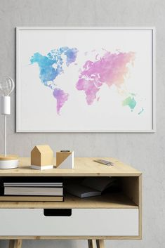 Pastel World Map Print, Pastel Watercolor World Map, Pastel World Map Wall Art, Pastel World Map Wall Print, World Map Pastel Print World Map Decor, World Map Wall Art, Floral Bedroom, Living Room Decor Inspiration, Water Color World Map, Pastel Watercolor, Rainbow Wall, Modern Wall Decor, Wall Art Quotes