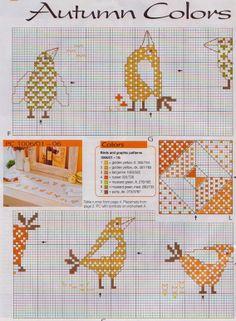 Geométricos: Passarinhos na Cozinha em Ponto Cruz