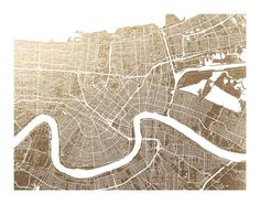 New Orleans Map Foil-Stamped Wall Art by Alex Elko Design   Minted