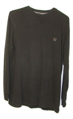 Chaps Ralph Lauren Mens Black 100% Cotton Long Sleeve Thin Sweatshirt Large L #Chaps #ThinSweatshirtCrew