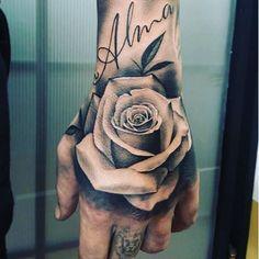 tattoos for men, rose tattoo, hand rose tattoo, on hand tattoo, rose covering tattoo Rose Tattoos For Men, Hand Tattoos For Guys, Hand Tats, Trendy Tattoos, Tattoos For Women, Mens Hand Tattoos, Rose Tattoo For Guys, Rose Tattoo With Name, Tattoo For Man