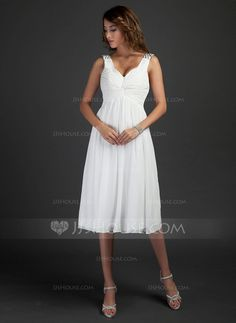 Bridesmaid Dresses - $99.99 - A-Line/Princess V-neck Knee-Length Chiffon Bridesmaid Dress With Ruffle Beading (007015318) http://jjshouse.com/A-Line-Princess-V-Neck-Knee-Length-Chiffon-Bridesmaid-Dress-With-Ruffle-Beading-007015318-g15318