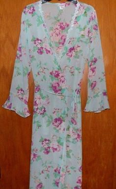 Enchanting Intimates Medium Blue & Purple Floral Sheer Robe VGUC #Enchanting #Robes #Everyday $5.99 + $3.46 s/h