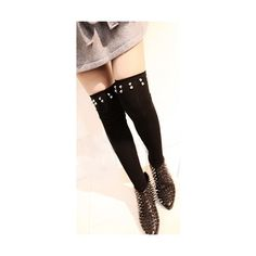 Fallen Angel Black Nude Gold Spike Stud Mock Thigh High Stockings... ($34) ❤ liked on Polyvore