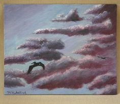"""Sunset With Birds Original Acrylic Painting 8"""" x 10"""" by dragonbee on Etsy"""