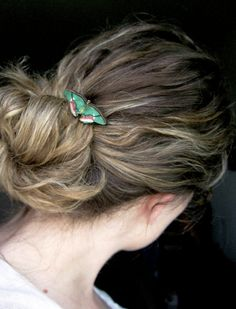 Butterfly bobby pin green hair pin pink and by PennyandPaper, $7.00