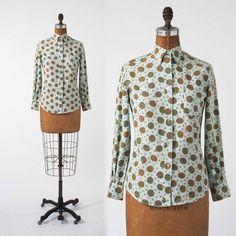 Ladies SZ 30 1960s Paisley Cotton Shirt, Pale Blue Boyfriend Shirt, Preppy Button-Down