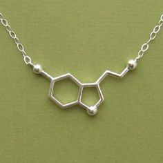 serotonin molecule necklace for happiness. for your favorite Chem nerd ; Ssri Medication, Molecular Shapes, Diamond Jewelry, Silver Jewelry, Silver Rings, Molecule Necklace, Piercings, Collor, Jewelry Collection