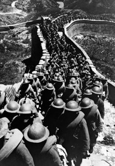 Chinese soldiers marching on the Great Wall of China fighting the Japanese Imperial Army invaders, Nov. 1, 1937