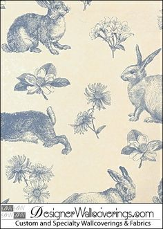 Little Bunny Rabbit Animal Toile de Joy Wallpaper  [TOILE-17320CloseUp] French Toiles Du Joy Walls | DesignerWallcoverings.com ™ - Your One Stop Showroom for Custom, Natural, & Specialty Wallcoverings | Largest Selection of Wall Papers | World Wide Showroom | Wallpaper Printers