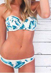 Alluring Strapless Sleeveless Printed Bikini Set For Women (BLUE,S) | Sammydress.com Mobile
