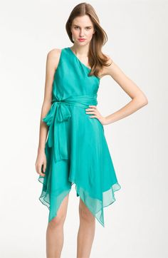I love this color! and the style :) Allen Schwartz Prive One Shoulder Handkerchief Hem Chiffon Dress available at Teal Bridesmaid Dresses, Homecoming Dresses, Wedding Dresses, Nordstrom Dresses, I Love Fashion, Chiffon Dress, Her Style, Party Dress, Shop Nordstrom