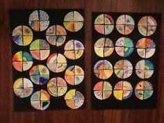Groepswerk gemaakt met groep 6 geïnspireerd door pin op Pinterest. Iedereen tekent/kleurt een cirkel, deze wordt in vieren geknipt en daarna worden de kwarten door elkaar opgeplakt. Nu vormen alle kwarten weer een cirkel.